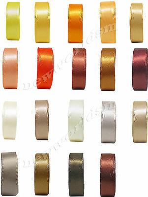 """12y 18mm 3/4"""" Mixed Gold Brown Cream Double Sided Faced Satin Ribbon Eco FREE PP"""