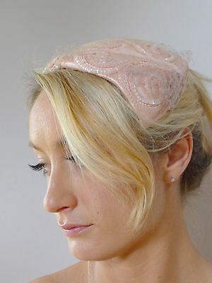 Vintage true 50s pink silk sequins net fitted fascinator hat very good RB