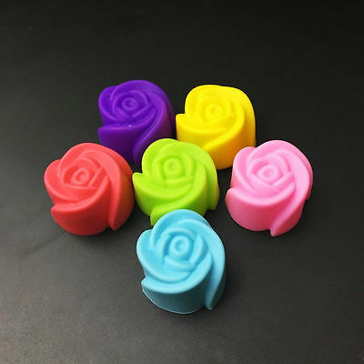 4PCS Silicone Rose Muffin Cookie Cup Cake Baking Mould Chocolate Maker