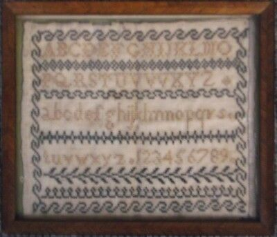 19th century FRAMED SAMPLER ALPHABET AND NUMBERS lovely condition