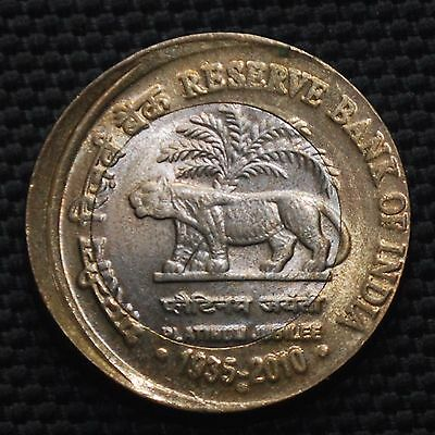 INDIA 2010 Rs.10 BI-METAL RBI WITH DIE SHIFT, OFF CENTER ERROR