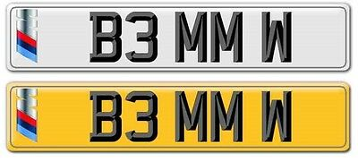 BMW Private reg, number plate REGISTRATION PLATE, PRIVATE NUMBER. (B3 MM W)