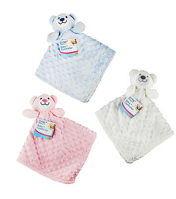 Baby Soft Teddy Bear Comforter Snuggle Comfort Blanket Pink Blue First Newborn