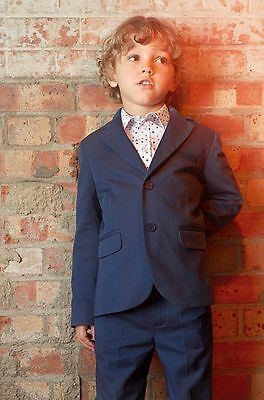 Navy Kid's 2 Piece Wedding Groom Tuxedos Flower Boys Children Party Prom Suits