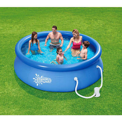summer escapes 10 x 30 quick set round above ground swimming pool with filter