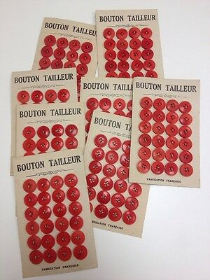 Lot Boutons Anciens Rouges