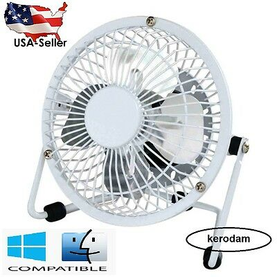 PORTABLE USB MINI FAN 5'' DESK FAN LABTOP PC MAC Ultra QUIET AIR COOLING WHITE