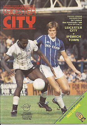 Football Programme - Leicester City v Ipswich Town - Div 1 - 1984