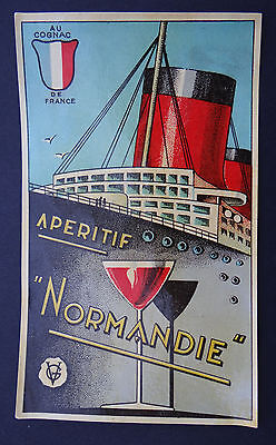 Ancienne étiquette APERITIF NORMANDIE CGT Frenchline paquebot french label