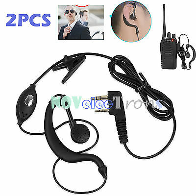 Security G-Shape Headset/Earpiece Mic For Radio Baofeng Walkie Talkie 2 Pin New