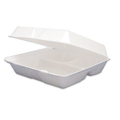 Foam Container, Hinged Lid, 3-Comp, 8 3/8 x 7 7/8 x 3 1/4, 200/Carton