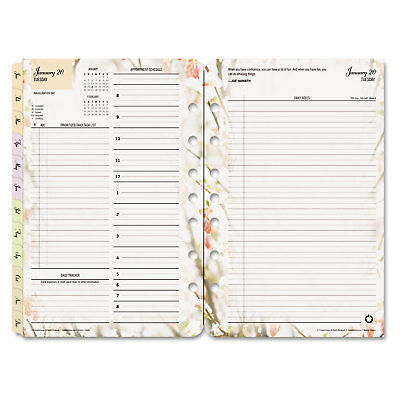 Blooms Dated Daily Planner Refill, January-December, 5 1/2 x 8 1/2, 2018