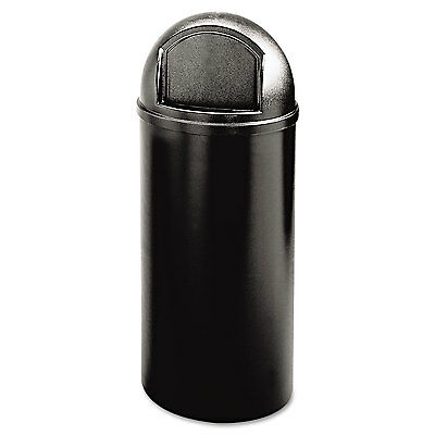 Marshal Classic Container, Round, Polyethylene, 15gal, Black
