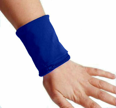 Wristband with Zip Sports Wallet Gym Wrist Purse Zipped Pocket Blue