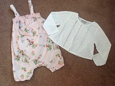 Immaculate NEXT girls age 3-4 floral playsuit & broderie cover up top outfit/set