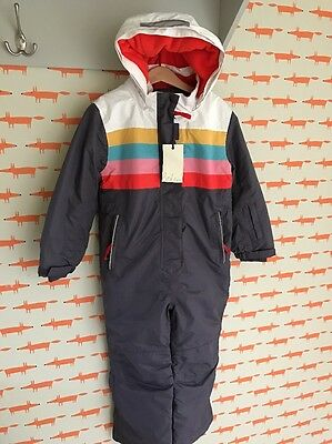 Brand New Mini Boden Kids All-In-One Ski Suit In 5-6 In Blue/Rainbow RRP£59.50