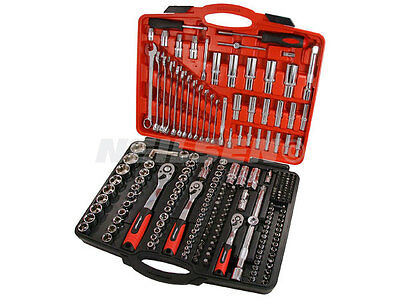 "219 PC 1/4"" 3/8"" 1/2""Drive Socket Set Ratchet Handle Wrench Tool Spanners"