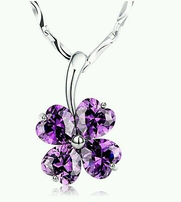 Heart Crystal Necklace Purple Clover 925 Sterling Silver beautiful