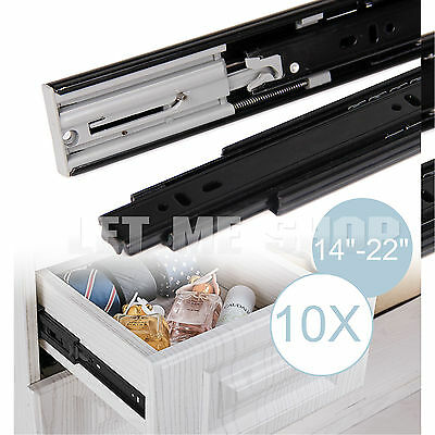 """Soft Close Drawer Slides Ball Bearing 14""""-22"""" Full Extension 10 Pairs Value Pack"""