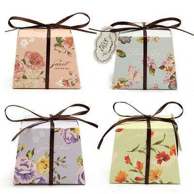 10 Pcs Floral Flower Cut Paper Candy Chocolate Boxes Ribbon Wedding Favor Gift