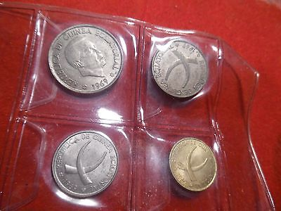 EQUATORIAL GUINEA Set 1, 5, 25, and 50 Pesetas, KM 1, 2, 3, and 4