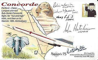 BA Concorde Multi Signed Hot and High Trials Commemorative Cover