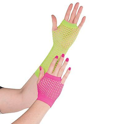 Adult 80s Fishnet Gloves Rainbow Electric Party Fancy Dress Neon Club Rave Pony