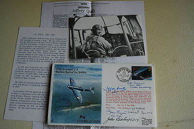 Raf Flown Cover Signed By Jeffrey Quill Supermarine Spitfire Test Pilot +4 B.o.b