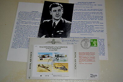 RAF COVER Signed. D.F.B SHEEN. Battle of Britain Spitfire Fighter pilot. 72 Sqn.
