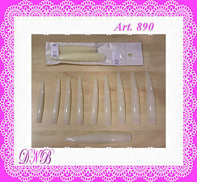 2 X 10 Tips Extra Lunghe Xxl Stiletto E Quadrate Naturali Micropittura Nail Art