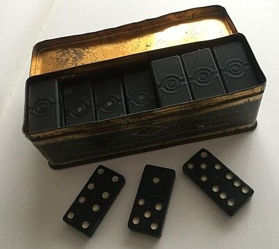 Set Of Vintage Dominoes In A Tin