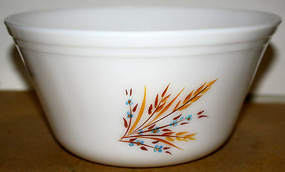 Vintage Federal Hand Painted Wheat Pattern Ovenware Mixing Bowl Large