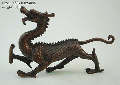 Chinese old Purple copper Fengshui God Animal Beast Dragons Evil Statue NR