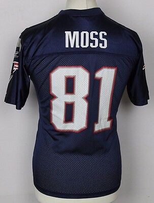 Moss #81 New England Patriots Nfl Reebok American Football Jersey Youths Large