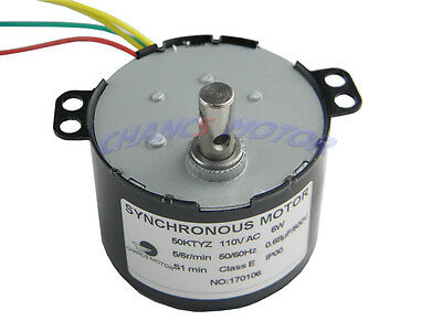 AC 110-130V 5/6RPM 50K Robust Synchronous Motor Geared Motor Control 6W CE Pass