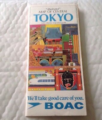 BOAC Map Of Central Tokyo 1970s