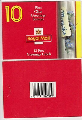 GB Barcode Stamp Booklet KX4 Greetings 1992 Memories  12x1st class 10% OFF 5+