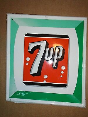 VINTAGE 7UP METAL SIGN 1966 No. 28 STOUT SIGN COMPANY