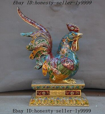 Old Chinese bronze Cloisonne gilt Animal chicken rooster Great good luck statue