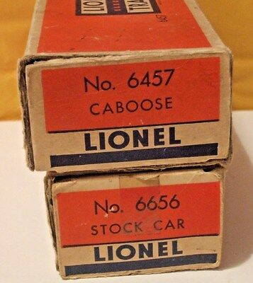 Two LIONEL Boxes 6457 & 6656 empty boxes, each is missing one end flap
