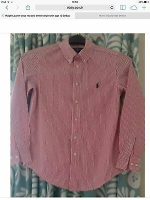 Ralph Lauren boys red and white stripe shirt age 12 immaculate