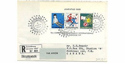 Luxembourg 474 Registered FDC to Canada 1969