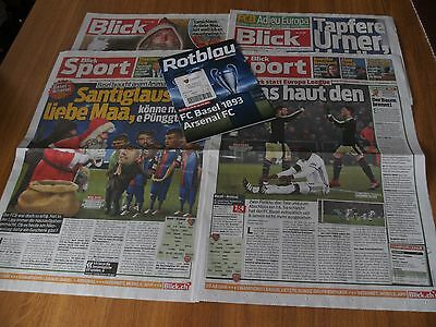 FC Basel V Arsenal Programme Ticket 2 Blick Newspapers 06/12/16 Champions League
