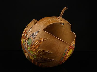 An Unusual Carved Gourd Basket, Jamaica, B.W.I. - dated 1932