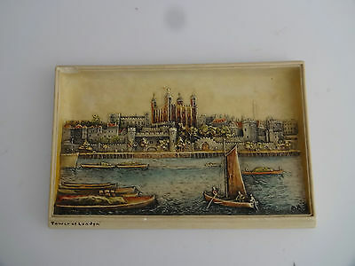 """Vintage Chalk Wall Plaque -Bossons Ivorex-""""Tower of London"""""""