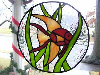 Stained Glass Lucky Goldfish  Sun catcher (Real Glass)