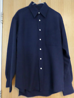 "Daniel Hechter Navy Ribbed Rayon Mix Collared Long Sleeved Shirt - 15.5"" Collar"