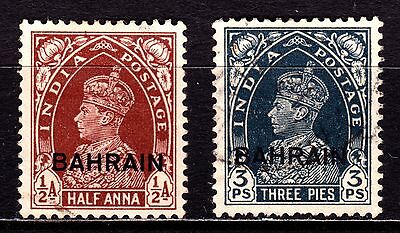 Bahrain Stamps. KGVI 1938 ½a & 3p. SG20, 21. Used. #3044