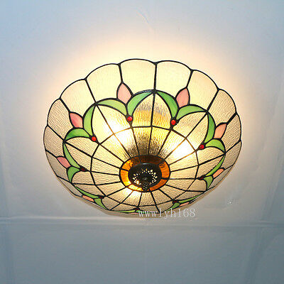 Tiffany Style Vintage Light Stained Glass Flush Mount Baroque Ceiling Fixtures