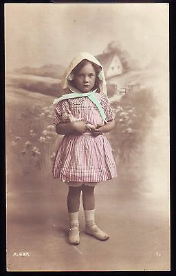 PRETTY YOUNG GIRL WITH DOLL c1912 PHOTOGRAPH POSTCARD